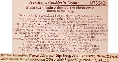 Hershey's, Cookies'n'Creme, biała czekolada z ciasteczkami kakaowymi, skład i wartości odżywcze, copyright Olga Kublik