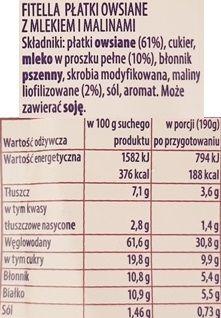 Nestle, Fitella Owsianka z mlekiem i malinami, skład i wartości odżywcze, copyright Olga Kublik
