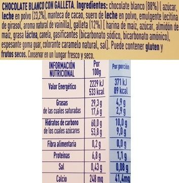 Nestle, Milkybar Galleta, biała czekolada z ciasteczkami korzennymi, skład i wartości odżywcze, copyright Olga Kublik