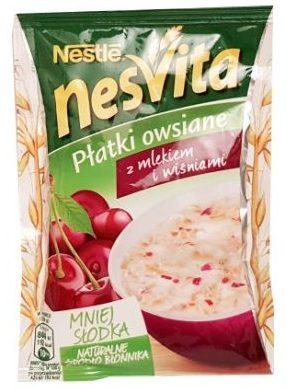 Nestle, NesVita Platki owsiane z mlekiem i wiśniami, błyskawiczna owsianka z owocami, copyright Olga Kublik