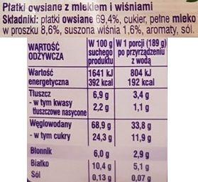 Nestle, NesVita Platki owsiane z mlekiem i wiśniami, błyskawiczna owsianka z owocami, skład i wartości odżywcze, copyright Olga Kublik