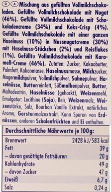 Ritter Sport, Schokowurfel vielfalt, kolekcja czekoladek, bombonierka, pralinki czekoladowe, czekoladki niemieckie, skład i wartości odżywcze, copyright Olga Kublik