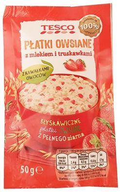 Tesco, Płatki owsiane z mlekiem i truskawkami, copyright Olga Kublik