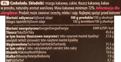 Tesco finest, Swiss Dark Chocolate 72, szwajcarska gorzka czekolada z Tesco, skład i wartości odżywcze, copyright Olga Kublik