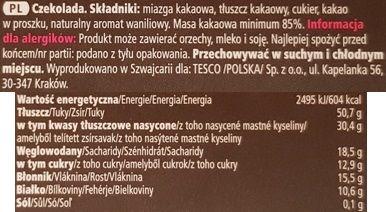 Tesco finest, Swiss Dark Chocolate 85% cocoa, szwajcarska czekolada gorzka z Tesco, skład i wartości odżywcze, copyright Olga Kublik