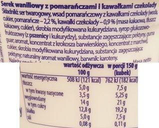 Krasnystaw, Seruś waniliowy z pomarańczami i kawałkami czekolady, serek homogenizowany, skład i wartości odżywcze, copyright Olga Kublik