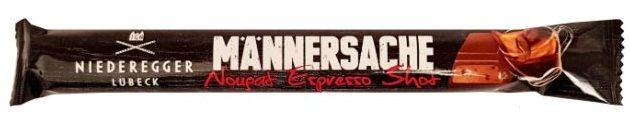 Niederegger, Mannersache Nougat Espresso Shot, baton mleczna czekolada z nugatem kawowym i ziarnami kawy, copyright Olga Kublik