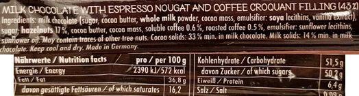 Niederegger, Mannersache Nougat Espresso Shot, baton mleczna czekolada z nugatem kawowym i ziarnami kawy, skład i wartości odżywcze, copyright Olga Kublik