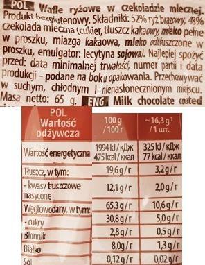 Sonko, Milk Wafle ryżowe w czekoladzie mlecznej, skład i wartości odżywcze, copyright Olga Kublik