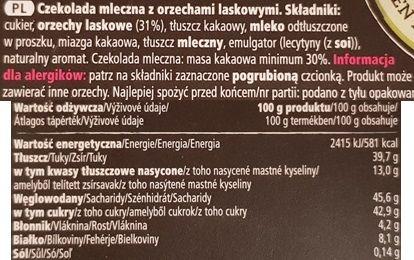 Tesco finest, Swiss Milk Chocolate with Crunchy Whole Hazelnuts, szwajcarska mleczna czekolada z orzechami z Tesco, skład i wartości odżywcze, copyright Olga Kublik