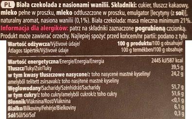 Tesco finest, Swiss White Chocolate with Vanilla Seeds, biała czekolada z wanilią z Tesco, skład i wartości odżywcze, copyright Olga Kublik