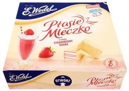Wedel, Ptasie Mleczko o smaku Strawberry Shake w białej czekoladzie Karmellove, copyright Olga Kublik
