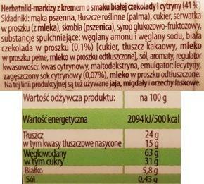 Bahlsen, Hit o smaku białej czekolady i cytryny, markizy Hity edycja limitowana 2018, skład i wartości odżywcze, copyright Olga Kublik