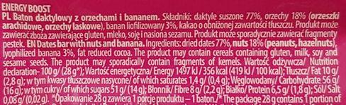 FreeYu, Energy Boost raw bar 100 kcal, wegański surowy baton z kakao i bananem, skład i wartości odżywcze, copyright Olga Kublik