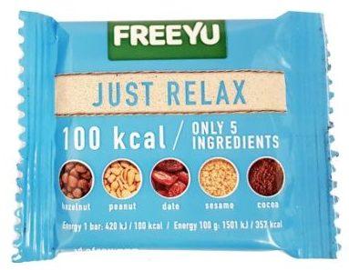FreeYu, Just Relax raw bar 100 kcal, wegański baton surowy z kakao, orzechami i sezamem, copyright Olga Kublik