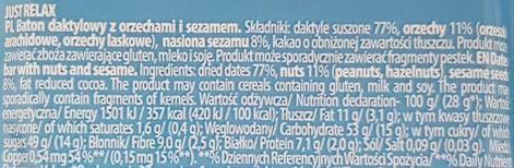 FreeYu, Just Relax raw bar 100 kcal, wegański baton surowy z kakao, orzechami i sezamem, skład i wartości odżywcze, copyright Olga Kublik