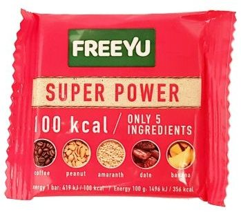 FreeYu, Super Power raw bar 100 kcal, wegański surowy baton z kawą, copyright Olga Kublik