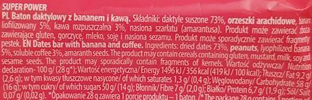 FreeYu, Super Power raw bar 100 kcal, wegański surowy baton z kawą, skład i wartości odżywcze, copyright Olga Kublik
