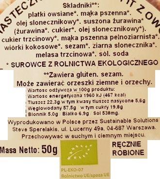 LOV, Eko ciasteczko wegańskie fit z owocami, skład i wartości odżywcze, copyright Olga Kublik