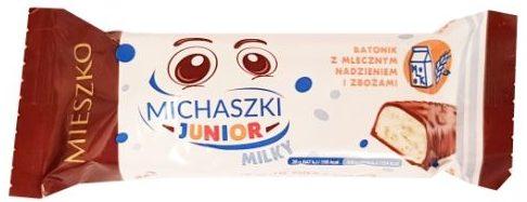 Mieszko, Michaszki Junior Milky, baton z nadzieniem mlecznym i ekspandowanymi ziarnami zbóż, copyright Olga Kublik