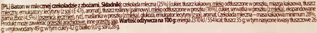 Mieszko, Michaszki Junior Milky, baton z nadzieniem mlecznym i ekspandowanymi ziarnami zbóż, skład i wartości odżywcze, copyright Olga Kublik