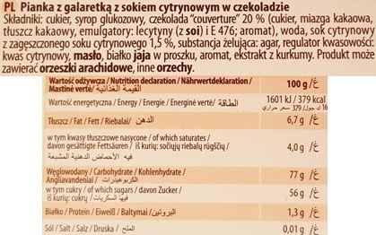Odra, Duetka Familijna Pianka z galaretka z sokiem cytrynowym w czekoladzie, skład i wartości odżywcze, copyright Olga Kublik