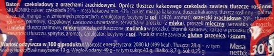Śnieżka, Michałki baton czekoladowy z orzechami arachidowymi, skład i wartości odżywcze, copyright Olga Kublik