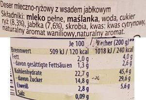 Ursi, Milchreis Apfel, jabłkowy ryż na mleku z Aldiego, skład i wartości odżywcze, copyright Olga Kublik