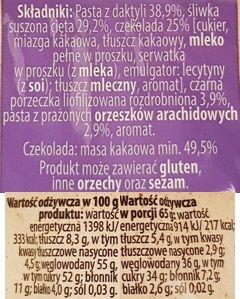 Bakalland, BArdzo bakaliowa tabliczka w czekoladzie daktyle, śliwki, czarna porzeczka, skład i wartości odżywcze, copyright Olga Kublik