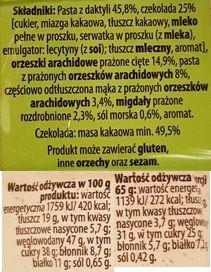 Bakalland, BArdzo bakaliowa tabliczka w czekoladzie daktyle, solone arachidy, migdały, skład i wartości odżywcze, copyright Olga Kublik