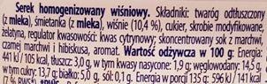 Danone, Danio wiśniowe, owocowy serek homogenizowany, skład i wartości odżywcze, copyright Olga Kublik