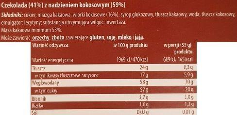 Erasmi Carstens, Magnetic Czekolada deserowa kokosowa, ciemna czekolada z Biedronki, skład i wartości odżywcze, copyright Olga Kublik