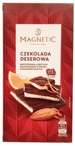 Erasmi Carstens, Magnetic Czekolada deserowa z pomaranczowym marcepanem, ciemna czekolada z Biedronki, copyright Olga Kublik