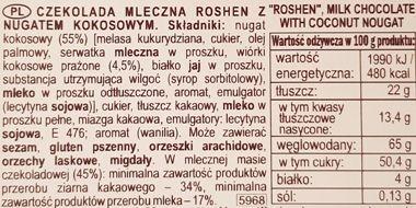 Roshen, Coconut Nougat Milk Chocolate, mleczna czekolada z nugatem kokosowym, skład i wartości odżywcze, copyright Olga Kublik
