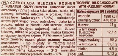 Roshen, Hazelnut Nougat Milk Chocolate, mleczna czekolada z nugatem orzechowym, skład i wartości odżywcze, copyright Olga Kublik