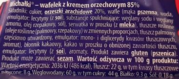 Śnieżka, Michałki Wafelek z kremem orzechowym, skład i wartości odżywcze, copyright Olga Kublik