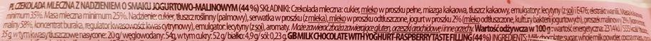 Terravita, Czekolada mleczna 35 cocoa nadzienie jogurtowo-malinowe, skład i wartości odżywcze, copyright Olga Kublik