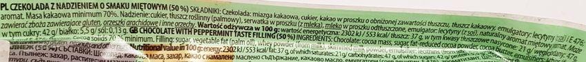 Terravita, Gorzka czekolada 70 cocoa nadzienie miętowe, skład i wartości odżywcze, copyright Olga Kublik