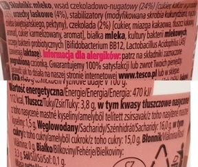 Tesco, Jogurt czekoladowo-nugatowy, skład i wartości odżywcze, copyright Olga Kublik