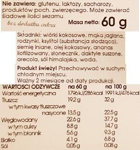 Baton Warszawski, wegański baton bezglutenowy Ananas i kokos, bez glutenu i laktozy, skład i wartości odżywcze, copyright Olga Kublik