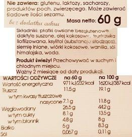 Baton Warszawski, wegański baton bezglutenowy Truskawka i wanilia, skład i wartości odżywcze, copyright Olga Kublik