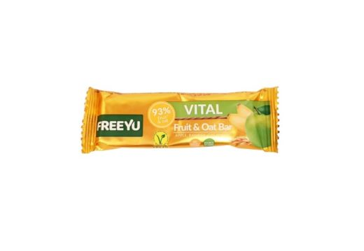 FreeYu, Vital Fruit and Oat Bar Apple, Banana, Oat Flakes, wegański baton owocowy, copyright Olga Kublik