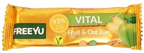 FreeYu, Vital Fruit and Oat Bar Apple, Banana, Oat Flakes, wegański baton owocowy, copyright Olga Kublik
