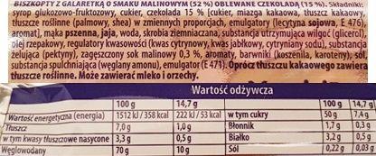 Moja Bajka, Delicje Szampańskie Malinowe, ciastka z galaretką i ciemną czekoladą jaffa cakes, skład i wartości odżywcze, copyright Olga Kublik