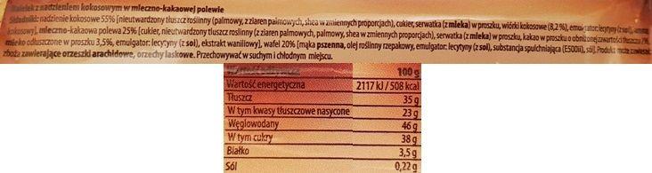 Mokate, wafel Hi Easy trio kokosowe, czekoladowy baton, skład i wartości odżywcze, copyright Olga Kublik