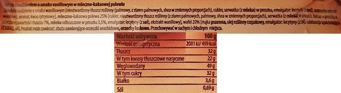 Mokate, wafel Hi Easy trio waniliowe, baton czekoladowy, skład i wartości odżywcze, copyright Olga Kublik