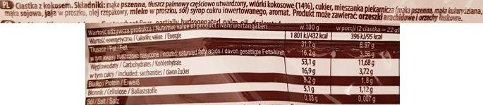 Piast, ciastka kokosowe Rewelki, herbatniki z kokosem, skład i wartości odżywcze, copyright Olga Kublik