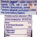 Zott, Jogobella Superfood Siemi lniane, Truskawka, Yuzu, Jagoda, Acai, skład i wartości odżywcze, copyright Olga Kublik