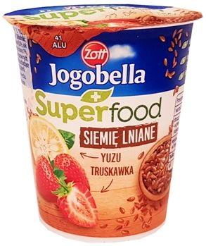 Zott, jogurt Jogobella Superfood Siemie lniane, Truskawka, Yuzu, copyright Olga Kublik