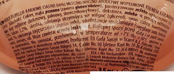 ETi, Milk Burger Z mlekiem i z kakao, czekoladowa mleczna kanapka, skład i wartości odżywcze, copyright Olga Kublik